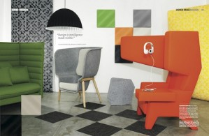 INDESIGN MAGAZINE  Mandi Keighran was stylist for a shoot for Woven Image and Indesign themed around acoustic privacy in the workplace.